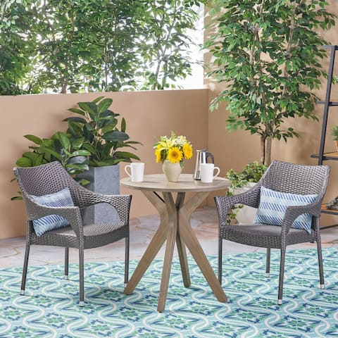 Bryant Outdoor 3 Piece Acacia Wood and Wicker Bistro Set by Christopher Knight Home