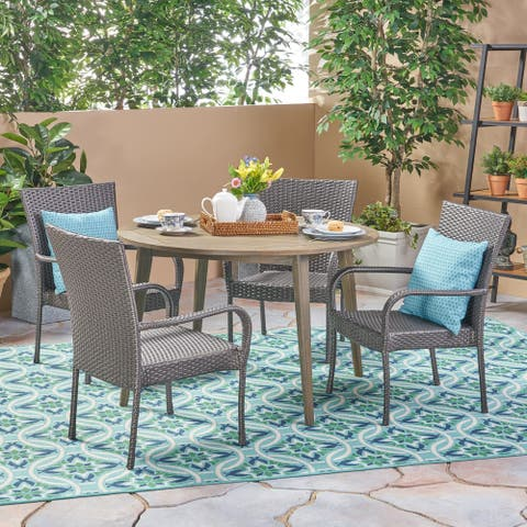 Reina Outdoor 5 Piece Wood and Wicker Dining Set by Christopher Knight Home