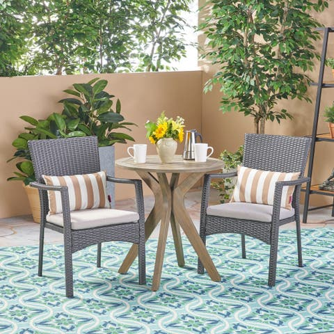 Kent Outdoor 3 Piece Acacia Wood and Wicker Bistro Set by Christopher Knight Home