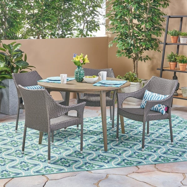 Donatella Outdoor 5 Piece Wood and Wicker Dining Set by Christopher Knight Home