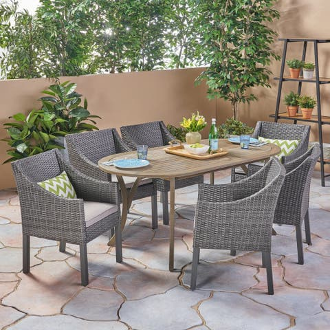 Vermont Outdoor 7 Piece Wood and Wicker Dining Set