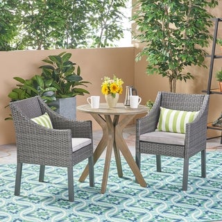 Arrigo Outdoor 3 Piece Acacia Wood and Wicker Bistro Set by Christopher Knight Home