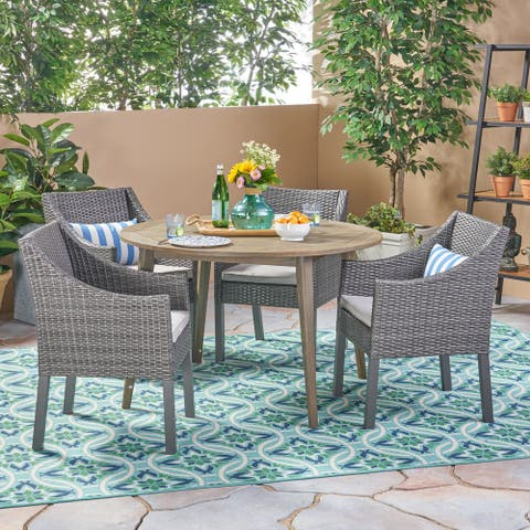 Torrence Outdoor 5 Piece Wood and Wicker Dining Set