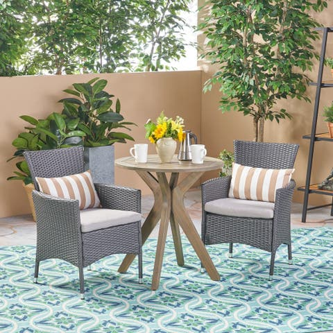 Jillian Outdoor 3 Piece Acacia Wood and Wicker Bistro Set by Christopher Knight Home