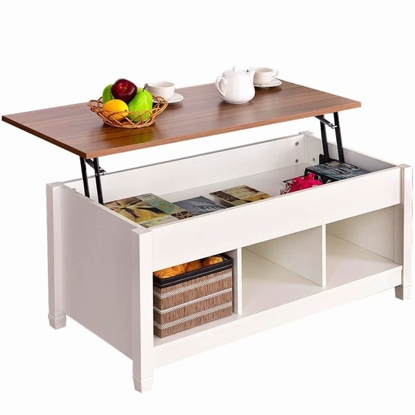 White Lift Top Coffee Tables: Shop Brown/White Wood/Iron Lift-top Hidden Compartment