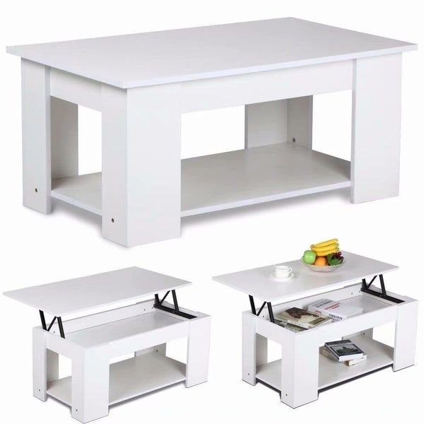 White Lift Up Coffee Table.Lift Top Hidden Storage White Coffee Table