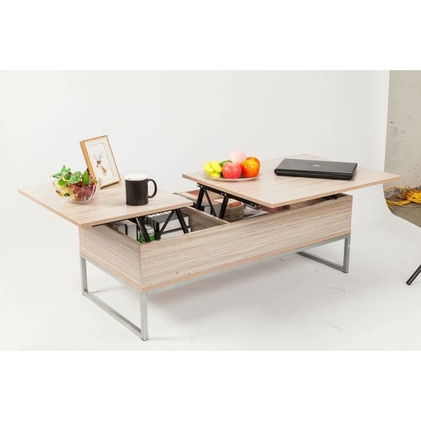 Wood Grain Stainless Steel Lift Top Hidden Compartment Coffee Table