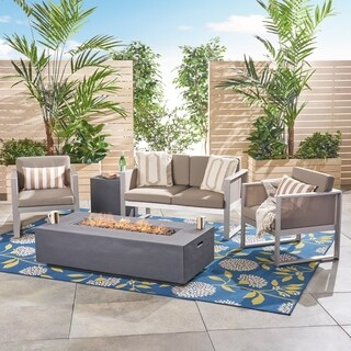 Luca Outdoor Aluminum 4 Seater Chat Set with Fire Pit by Christopher Knight Home