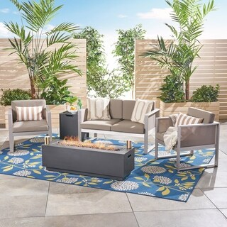 Zeta Outdoor Aluminum 4 Seater Chat Set with Fire Pit by Christopher Knight Home