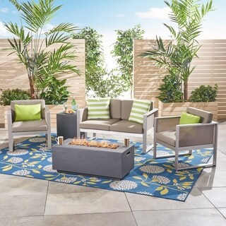 Aldo Outdoor Aluminum 4 Seater Chat Set with Fire Pit by Christopher Knight Home