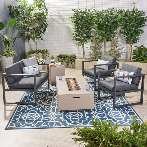 Camiguin Outdoor 4 Seater Aluminum Chat Set with Light Weight Concrete Fire Pit by Christopher Knight Home