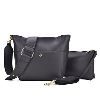 2-in-1 Faux Leather Mini Hobo with Front Snap Compartment, with matching organizer bag inside and extra hobo strap