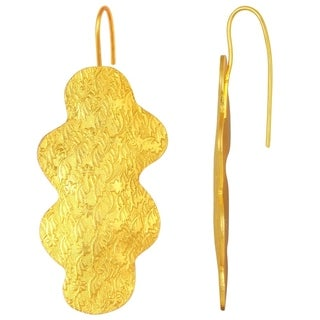 Orchid Jewelry Yellow Gold Plated Brass Flower Textured Earrings