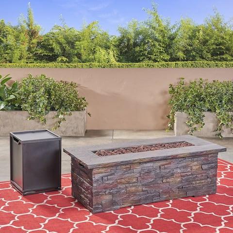 Lowan Outdoor Light Weight Rectangular Fire Pit by Christopher Knight Home