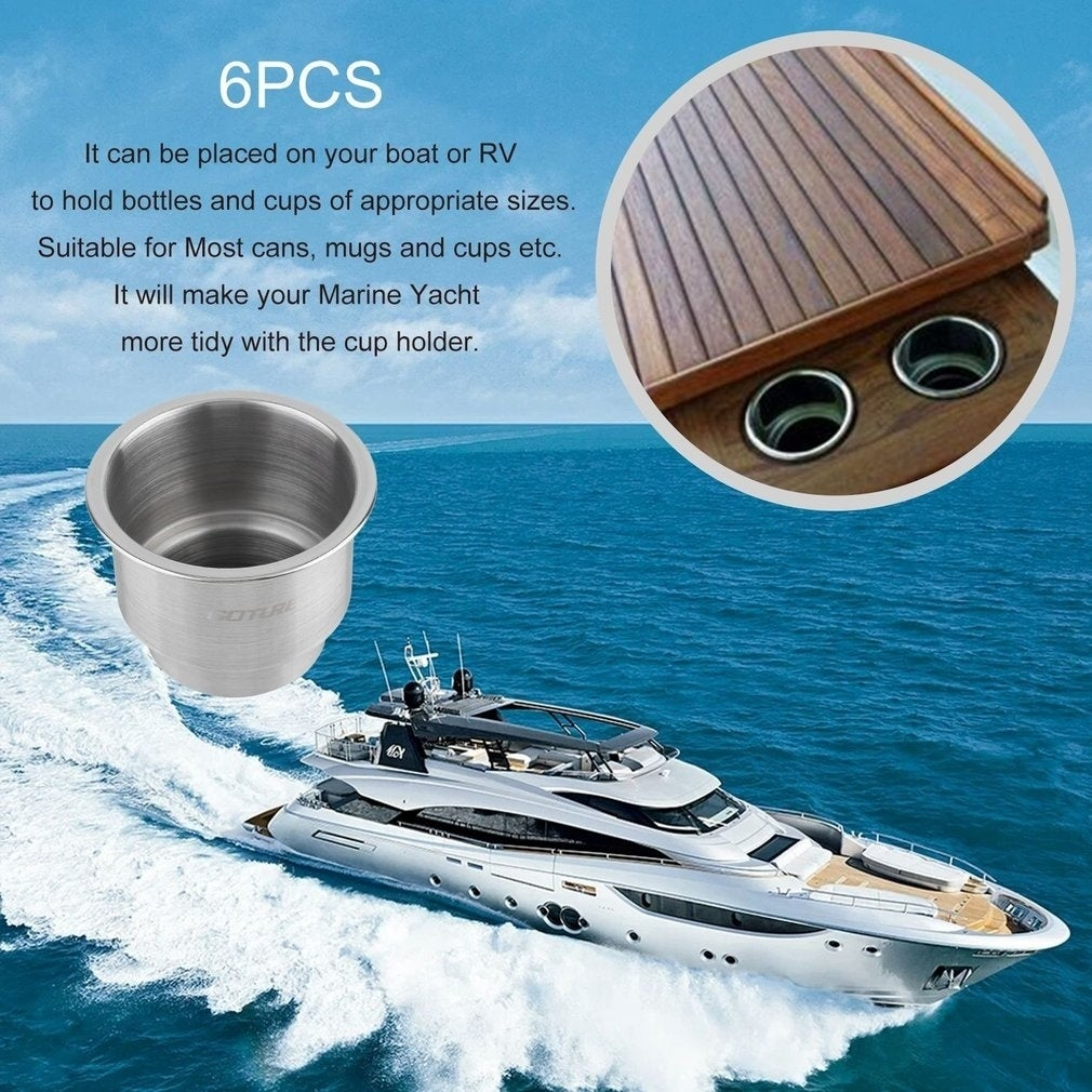 free shipping 4pcs Stainless Steel Cup Drink Holder Marine Boat RV Camper