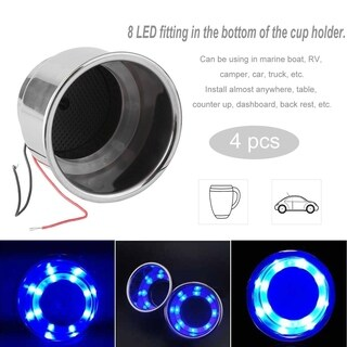 8 LED Blue Light Stainless Steel Cup Car Drink Holder Universal Cup Shape