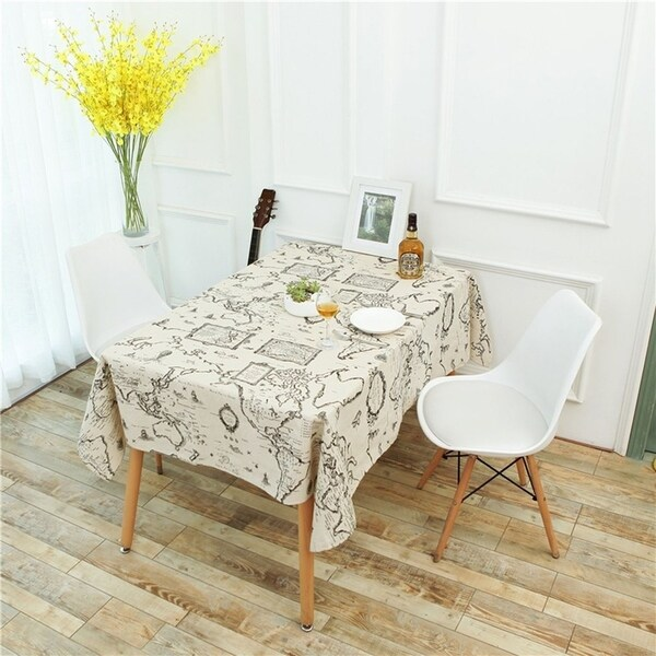 Shop World Map Tablecloth Linen Cotton Kitchen Tablecloths Cover For