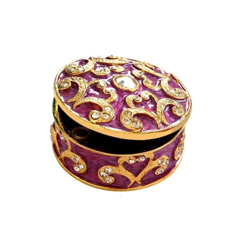 6.20 Ctw Mettalic White Crystals 925 Sterling Silver Antique Jewelry Box