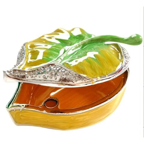 Leaf-Themed Color Metallic Jewelry Gift Box with Crystal Embellishment