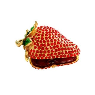 Strawberry-Themed Metallic Jewelry Gift Box with Crystal Embellishment