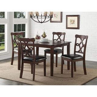 ACME Ingeborg 5-piece Dining Set in Black Leatherette and Espresso