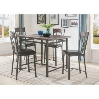 ACME LynLee Counter Height Table in Weathered Dark Oak and Dark Bronze