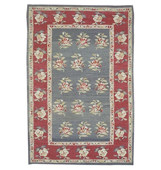 Nourison Hand-woven Mongol Kilim Green Wool Rug (5'6 x 8'6)