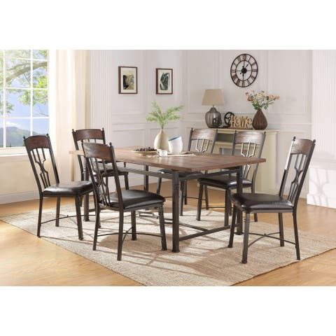 ACME LynLee Side Chair - Set of 2 in Espresso PU and Dark Bronze