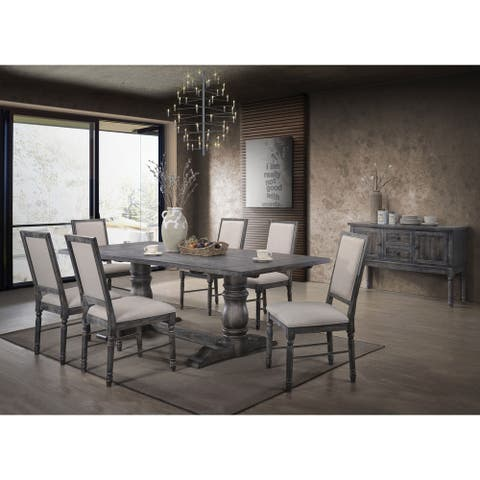 ACME Leventis II Side Chair - Set of 2 in Light Cream Linen and Weathered Gray