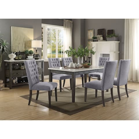 ACME Merel Side Chair - Set of 2 in Gray Fabric and Gray Oak
