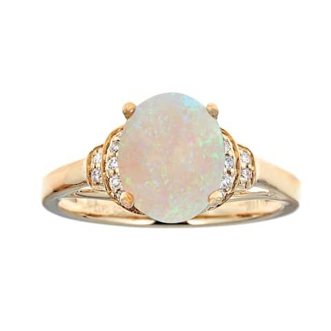 10K YG Australian Opal & Diamond Ring by Anika and August - White