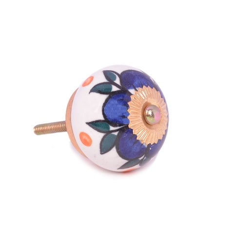Dark Blue Floral Ceramic Door Knob Sets Package Cabinet Drawer Pull Handles Furniture Decor Lots Set