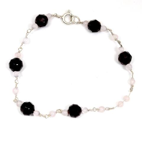 Garnet, Crystal Quartz Sterling Silver Ball Beaded Bracelet by Orchid Jewelry