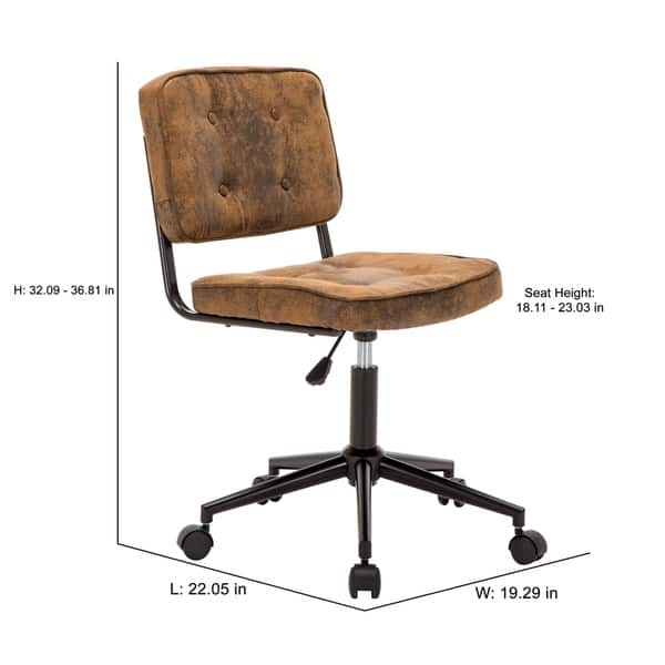 Shop Porthos Home Office Chair With Suede Upholstery Adjustable Height On Sale Overstock 22650727 Brown