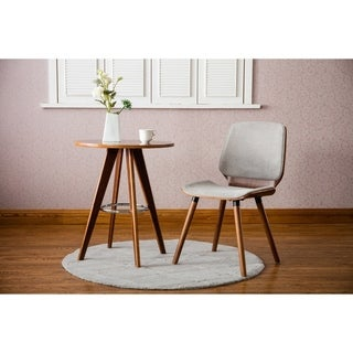Porthos Home Wood Side Table With Round Table Top And Metal Leg Rest