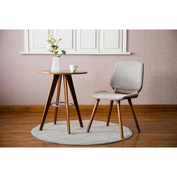 Porthos Home Wood Side Table With Round Top And Metal Leg Rest