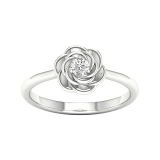 DeCouer 10k Gold 1/10ct TDW Diamond Flower Promise Ring