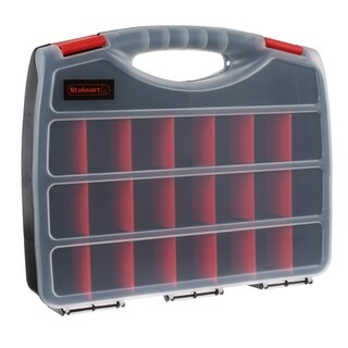 Portable Storage Case with Secure Locks and 23 Adjustable Compartments Stalwart