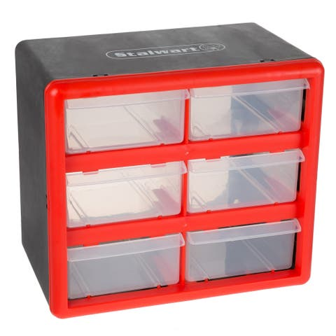 Storage Drawers- 6 Compartment Organizer Desktop or Wall Mountable Container Stalwart