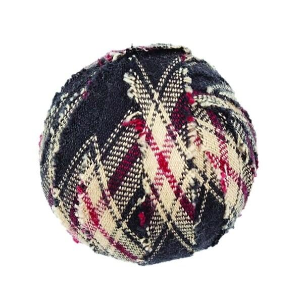 Black Americana Decor VHC Bingham Star Fabric Ball Set of 6 Cotton Plaid - Small Fabric Ball Set