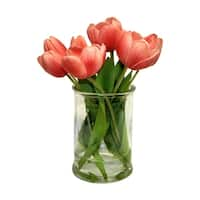 Real touch tulip arrangment in glass - CLEAR