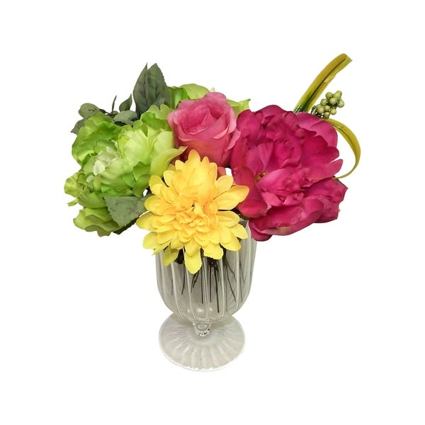 A Burst Of Colors In Footed Glass Vase Clear Free Shipping Today