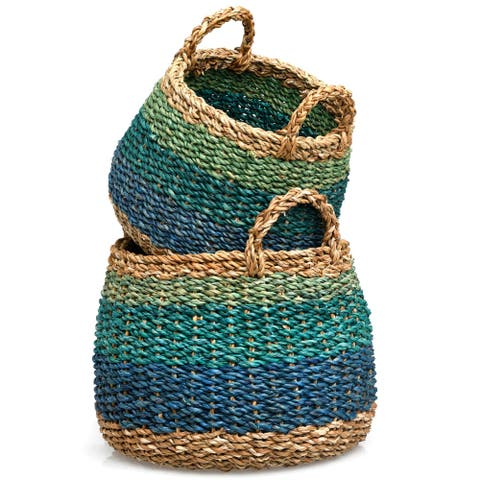Handmade Blue Harlem Storage Baskets, Set of 2 (Bangladesh)
