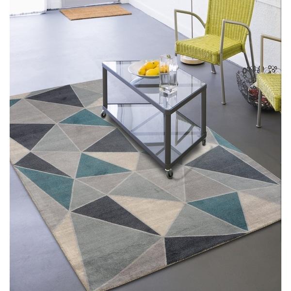 Mid Century Modern Rug: Shop Rugsmith Teal Confetti Mid-Century Modern Geometric
