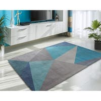 Rugsmith Blue Facet Mid-Century Modern Geometric Area Rug - 7'6 x 9'6