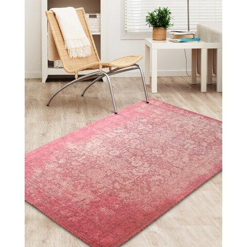Rugsmith Antibes Overdyed Red Nylon Traditional Area Rug - 5' x 7'