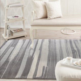 Rugsmith Grey Brush Stroke Contemporary Modern Area Rug - 5' x 7'