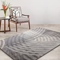 "Rugsmith Grey Linear Contemporary Modern Area Rug, 7'6"" x 9'6"" - 7'6 x 9'6"