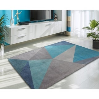 Rugsmith Blue Facet Mid-Century Modern Geometric Area Rug - 5' x 7'