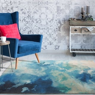 Rugsmith Blue Luminous Contemporary Watercolor Area Rug - 5' x 7'